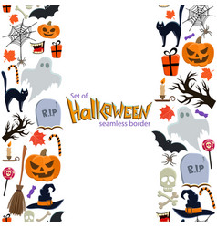 Vertical seamless borders of halloween icons vector