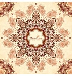 Vintage round seamless pattern in Indian mehndi vector image