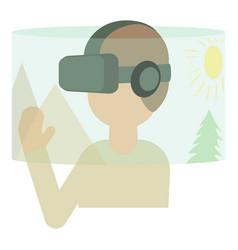 Virtual reality headset icon cartoon style vector