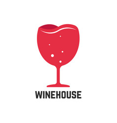Wine house logotype with red wineglass vector