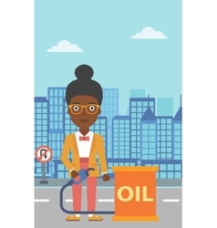Woman with oil can and filling nozzle vector