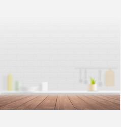 Wooden table on a defocused kitchen interior vector