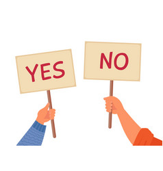 yes no banner isolated text placard hands hold vector image