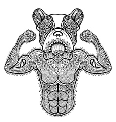 Zentangle stylized strong French Bulldog like vector