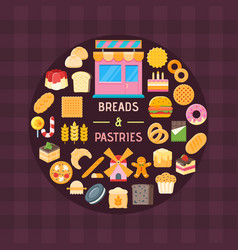 bread and pastry banner vector image vector image