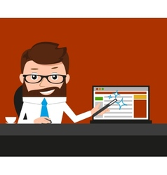 Lucky businessman is presenting a web site vector image
