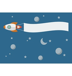 Rocket with banner vector image vector image