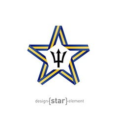 star with flag of Barbados colors and symbols vector image vector image