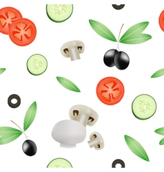 Vegetable Seamless Pattern With Tomato Cucumber vector image vector image