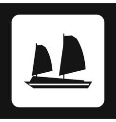 Vietnamese junk boat icon simple style vector image