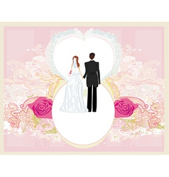 wedding invitation card with a cute couple vector image