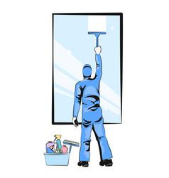 window cleaner vector image