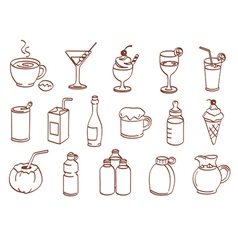 beverage related icon set vector image vector image