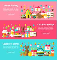easter greetings web horizontal banners vector image vector image