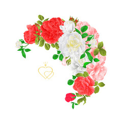 floral crescent frame with roses and buds vector image