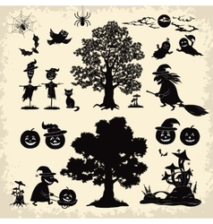Halloween objects and subjects set silhouette vector image