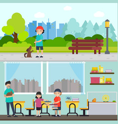 people and animals horizontal banners vector image vector image