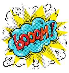 pop art comic speech bubble with boom word vector image vector image
