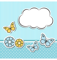 Scrapbook frame with flowers and butterflies vector image vector image