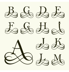 Set Capital Letter for Monograms and Logos vector image vector image