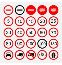 set of road signs warning signs or prohibiting vector image