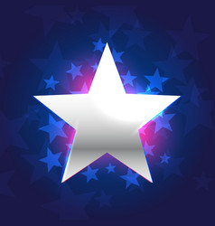 silver star in blue background vector image vector image