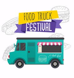 Food truck festival brochure flat design style vector
