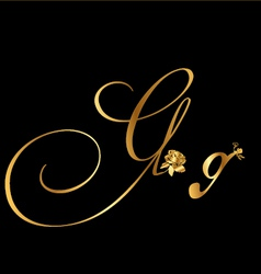 Gold letter G with roses vector image vector image