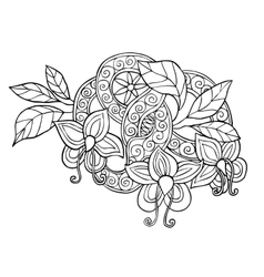 Hand drawn monochrome doodle flowers leafs and vector image vector image