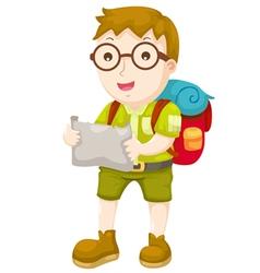 Kid Hiking vector image