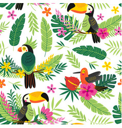seamless pattern with tropical birds vector image