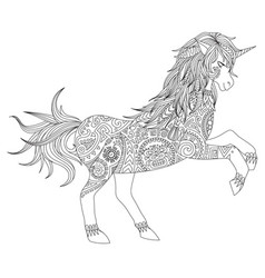 unicorn about to jump vector image vector image