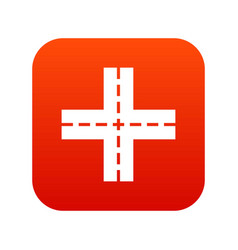 crossing road icon digital red vector image