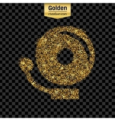 Gold glitter icon of school bell isolated vector image