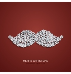 modern mustache snowflakes on red vector image