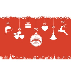 Red Christmas background with hanging vector image vector image
