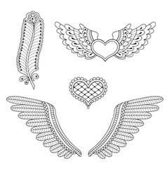 Set tattoo hearts wings feather vector image