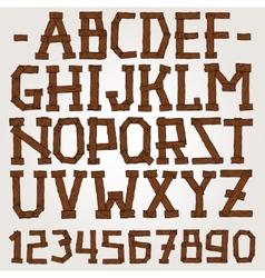 wooden planks font vector image