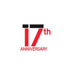 17 years anniversary logotype with black and red vector