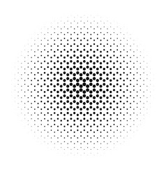 Abstract halftone circle of dots in radial vector
