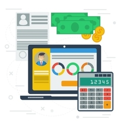 Accounting flat with computer app vector image