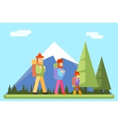Autumn Family Trip Concept Flat Design Icon vector image