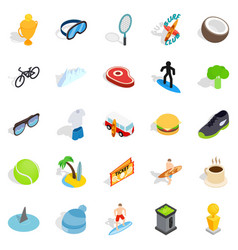 award for victory icons set isometric style vector image