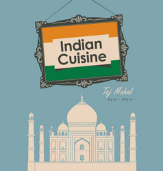 Banner restaurant indian cuisine with taj mahal vector