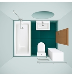Bathroom Interior Top View Realistic Image vector image