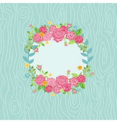 Beautiful Card with Floral Wreath vector