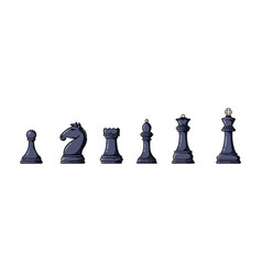 black chess pieces in a row vector image