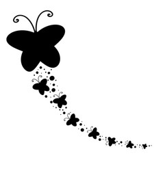Black silhouette of a large butterfly and flying vector