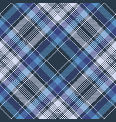 Blue check fabric texture diagonal seamless vector