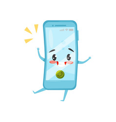 Blue humanized mobile phone with incoming call vector
